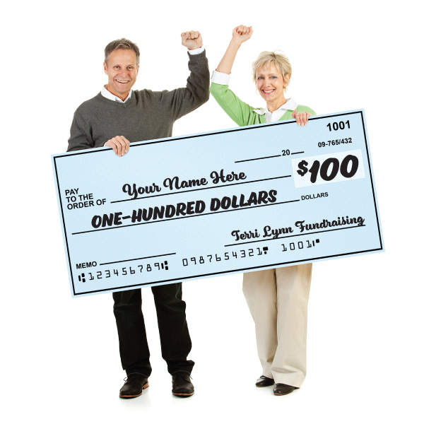 Referral Award Fundraisers with a big check